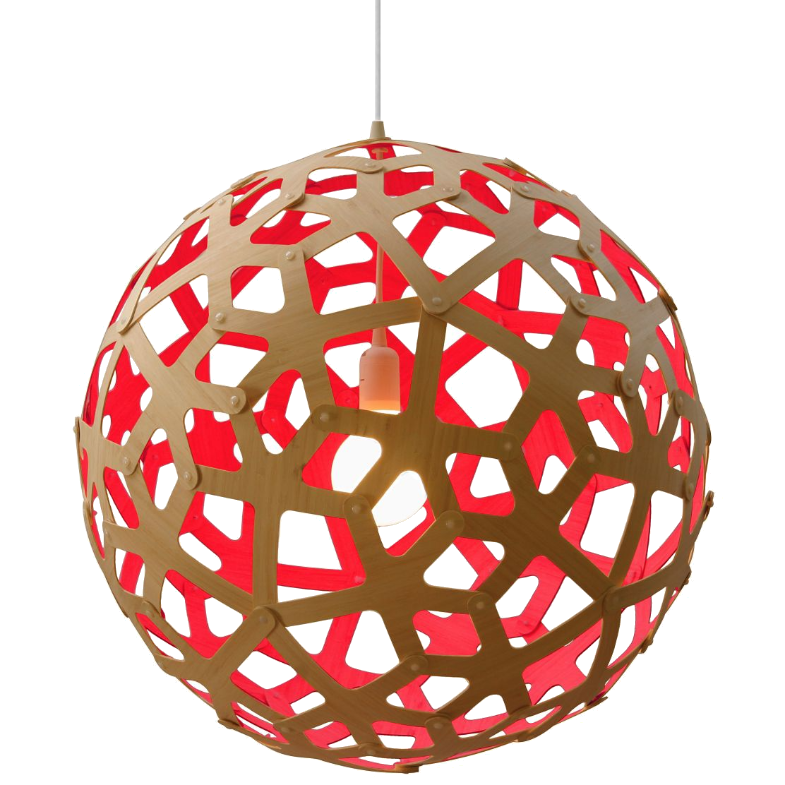 bamboo + red pendant light