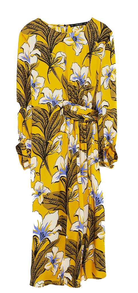 zara yellow floral print dress