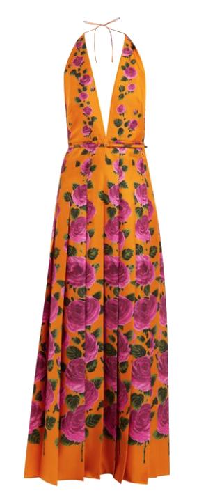 gucci floral silk halter gown
