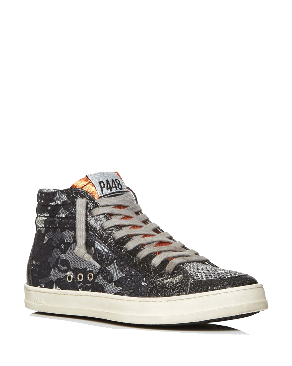 p488 black lace high top sneakers