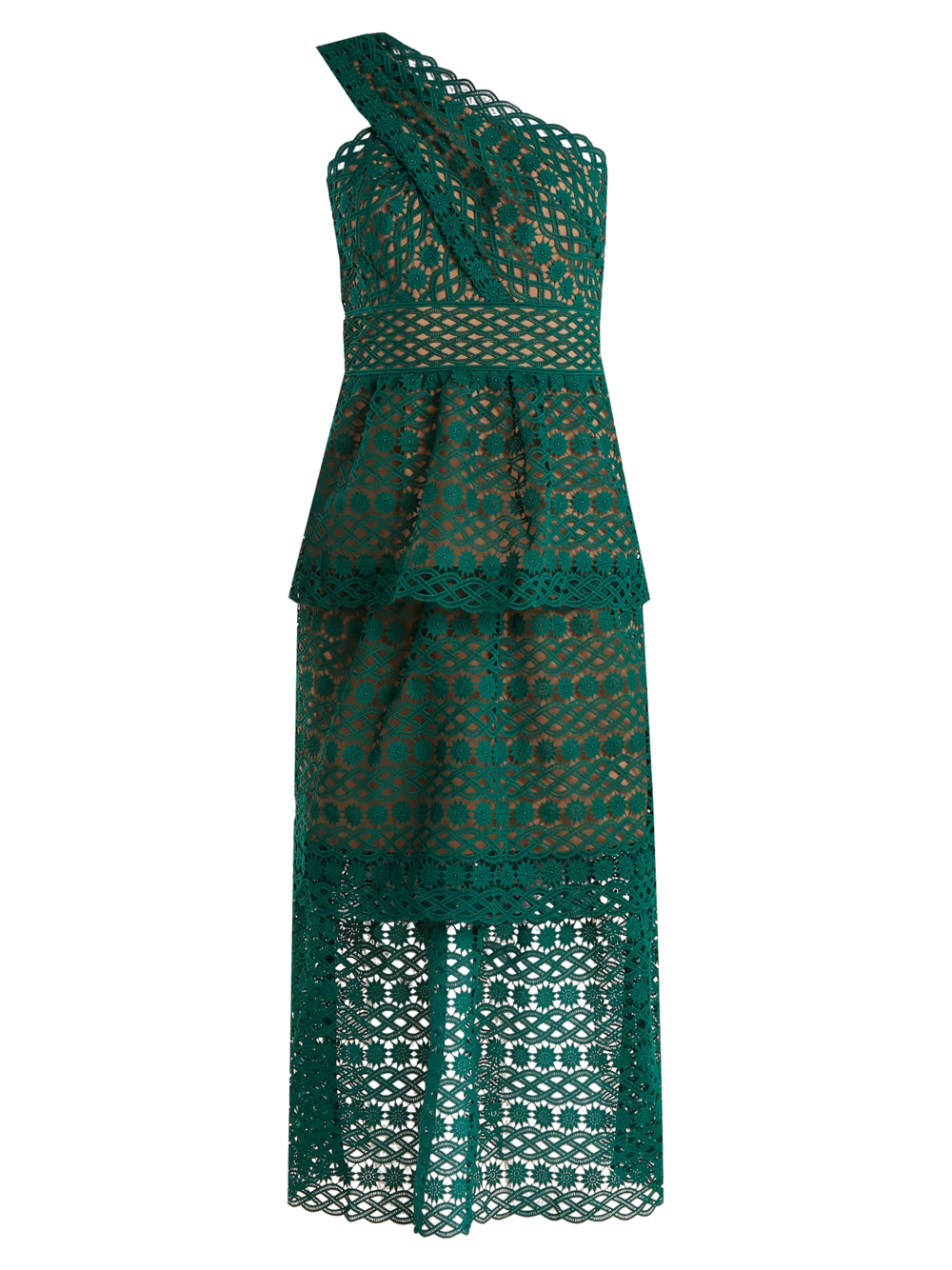 self portrait green lace dress