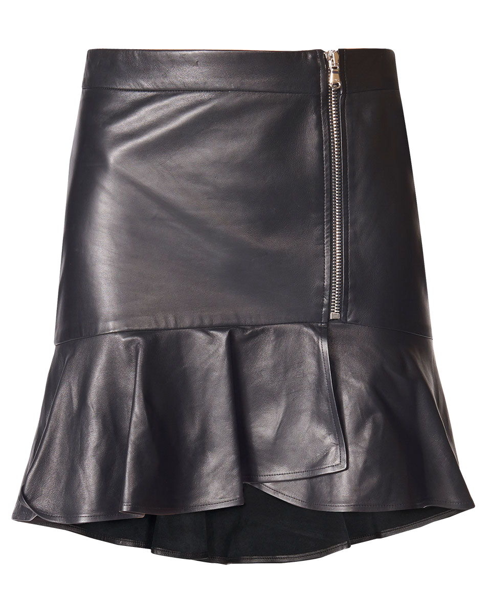 veronica beard black leather skirt