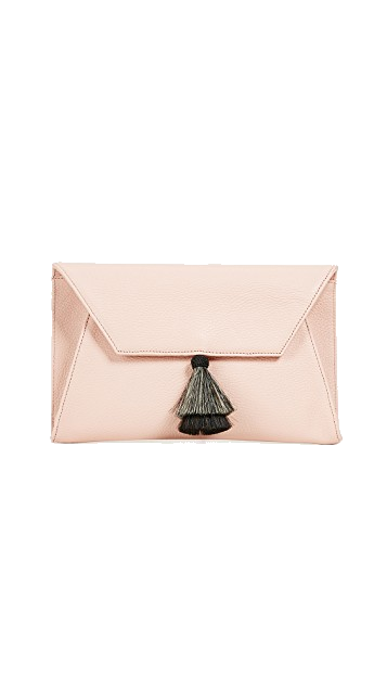 blush leather tassel clutch