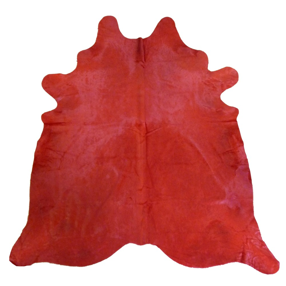 red cowhide rug