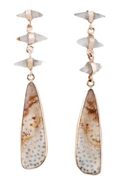esqueletto petrified wood earrings
