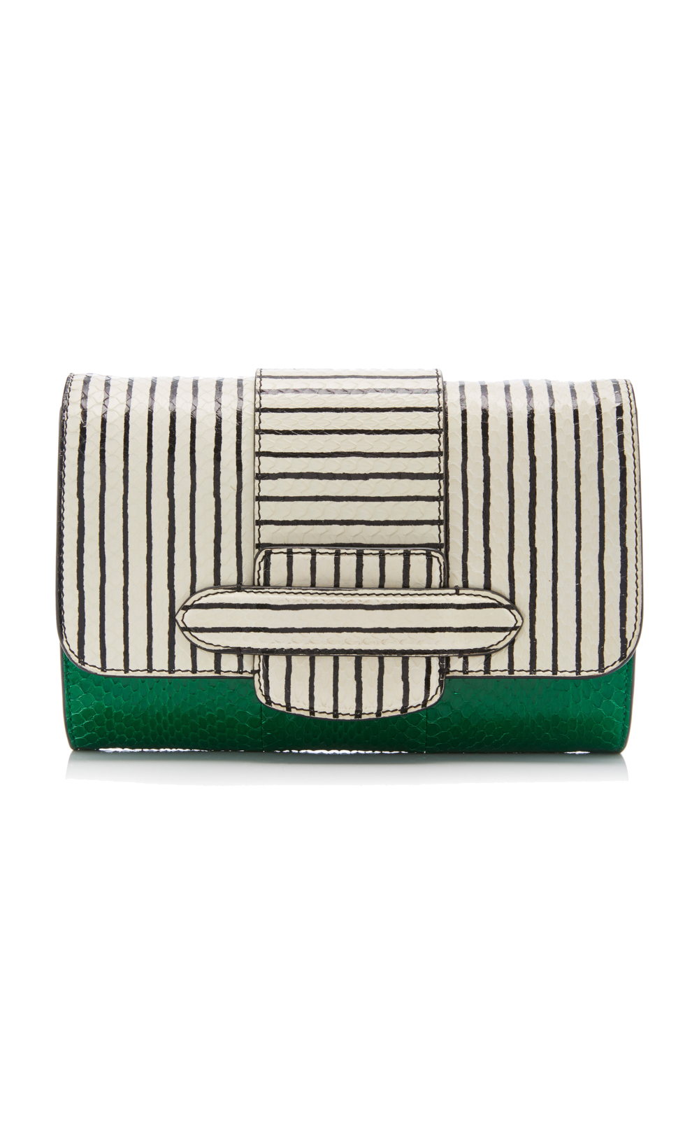 michino paris green striped clutch
