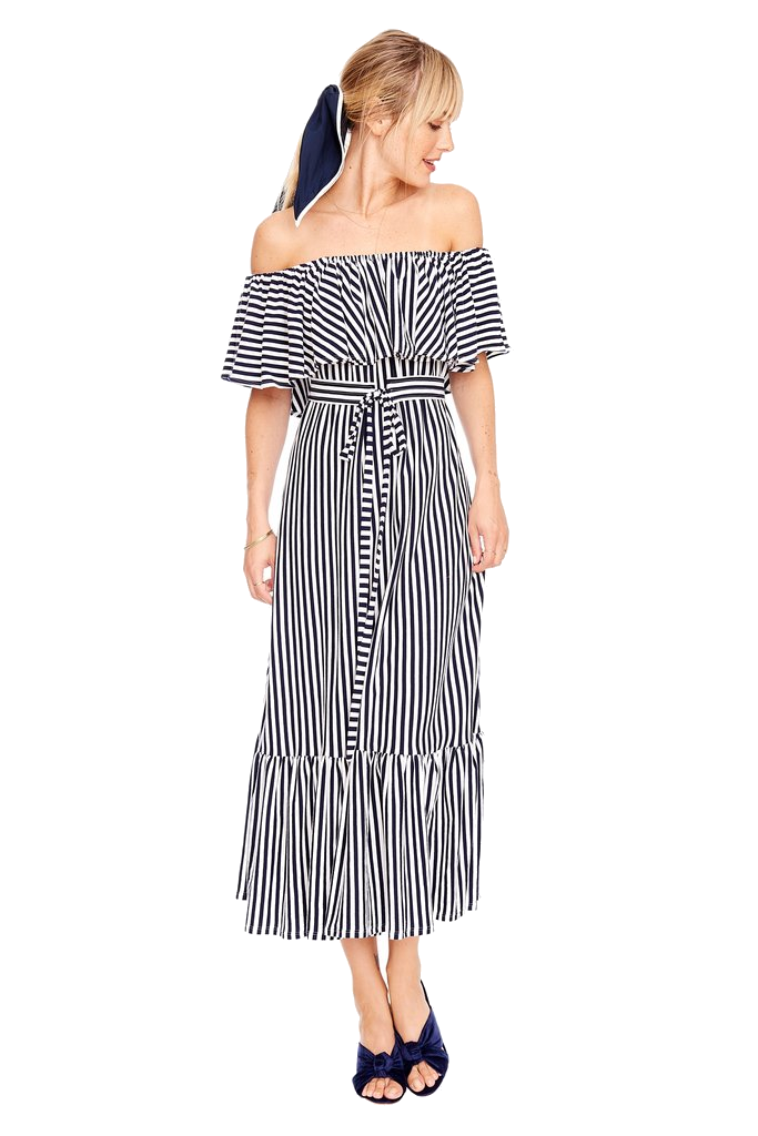 m.d.s. stripes black + white dress