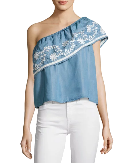 embroidered denim one-shoulder top