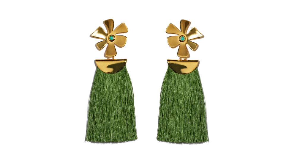 lizzie fortunato green tassel earrings