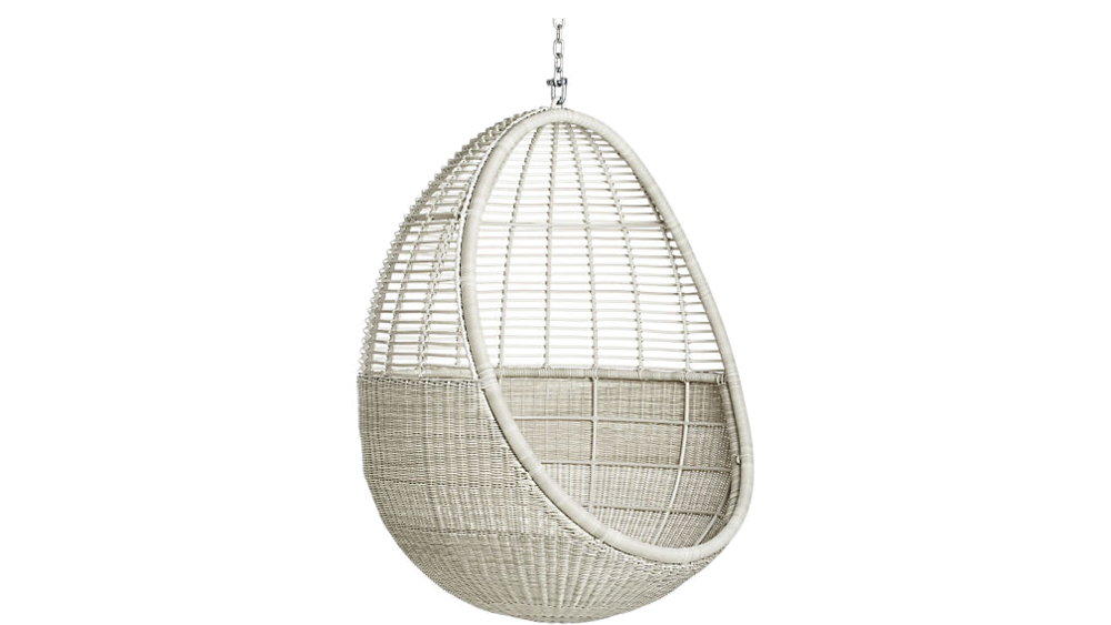 white rattan hanging pod chair