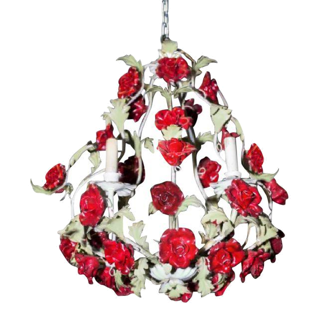 vintage red rose chandelier