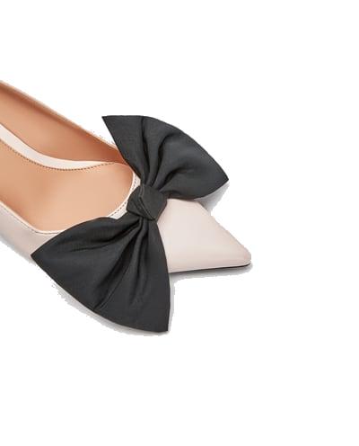 zara pink + black bow heels