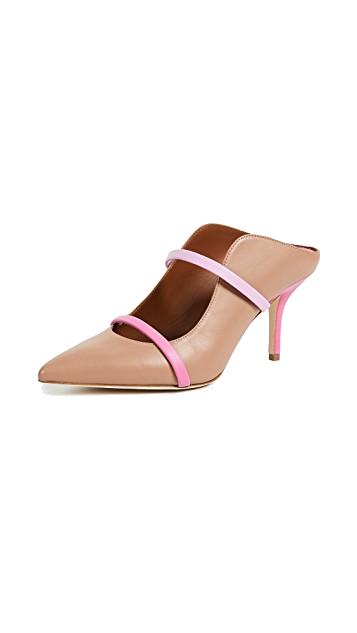 beige + pink mules