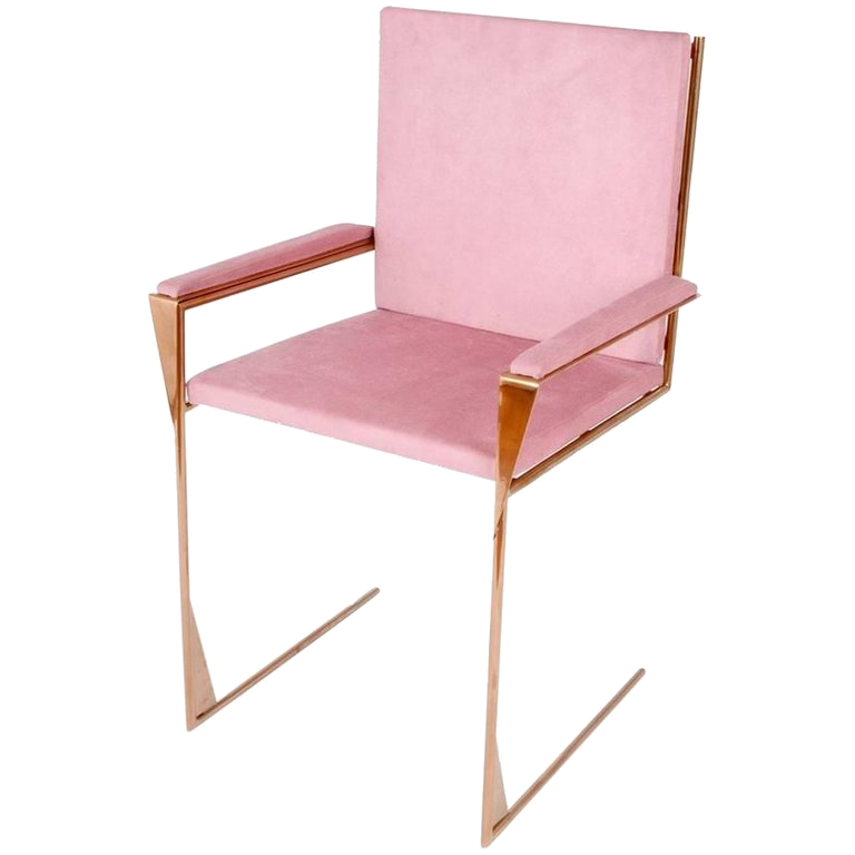 pink velvet + copper dining chair