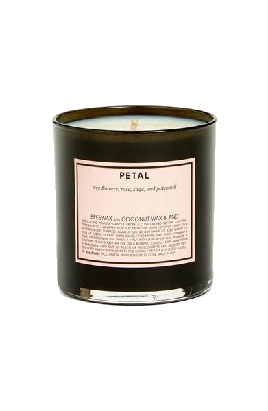boy smells 'petal' candle