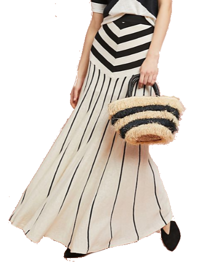 black + white stripe maxi skirt