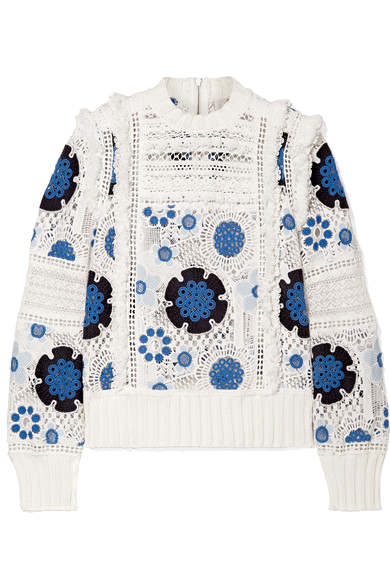 blue + white floral crochet sweater