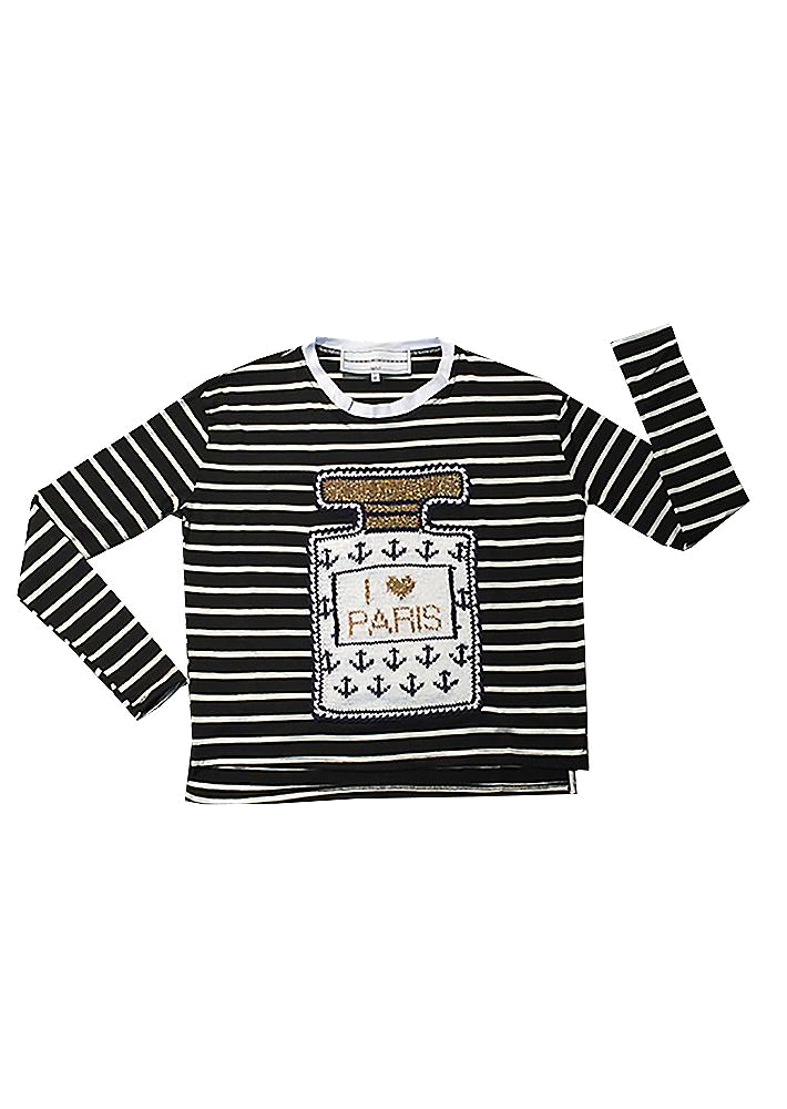 long sleeved black + white stripe tee