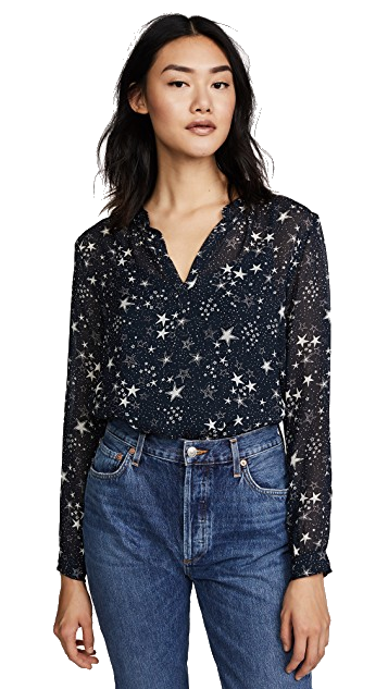 black + white star print blouse