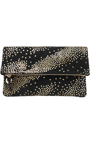 clare v. star print fold-over clutch
