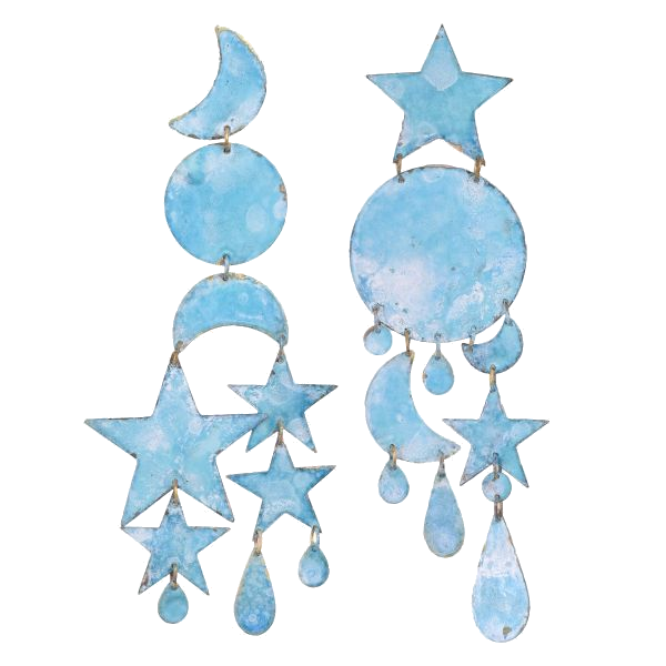 pastel blue moon + star earrings
