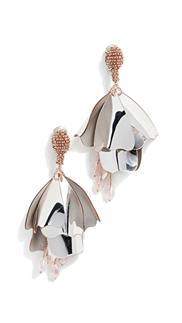 oscar de la renta metallic earrings