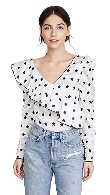 black + white star ruffle blouse