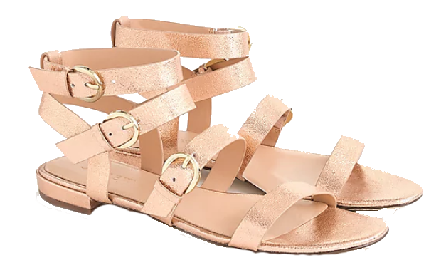 metallic blush gladiator sandlas