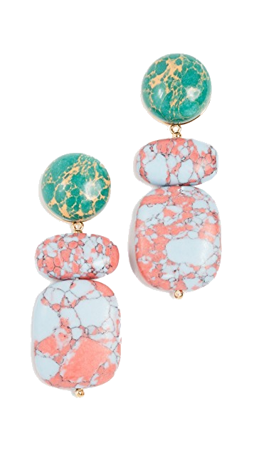 lele sadoughi pink + green earrings