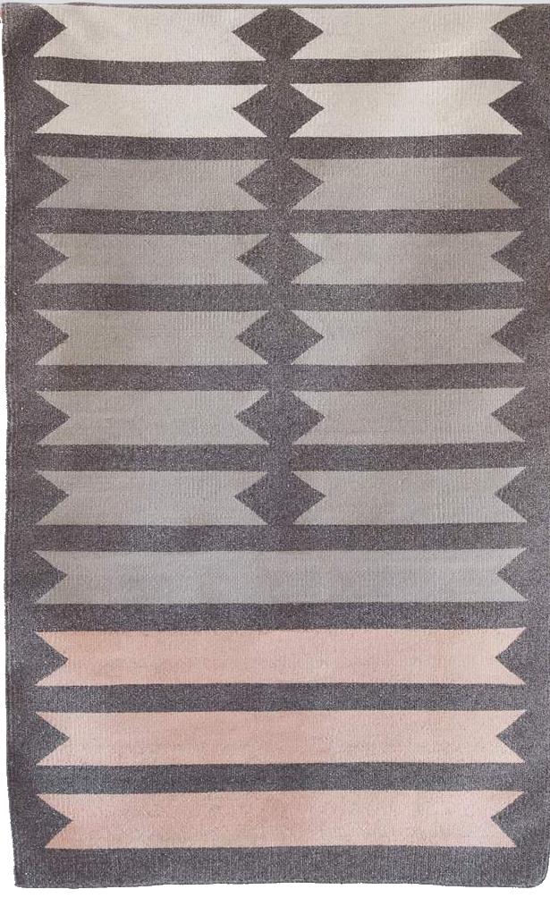 pink + gray flatweave rug