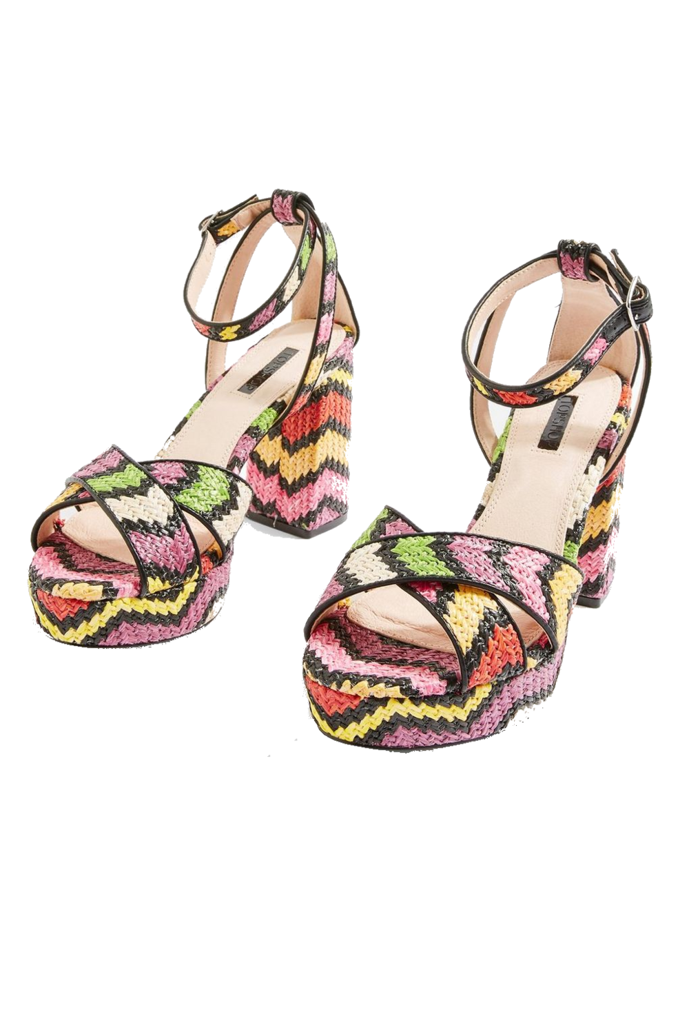 multi-colored platform heels