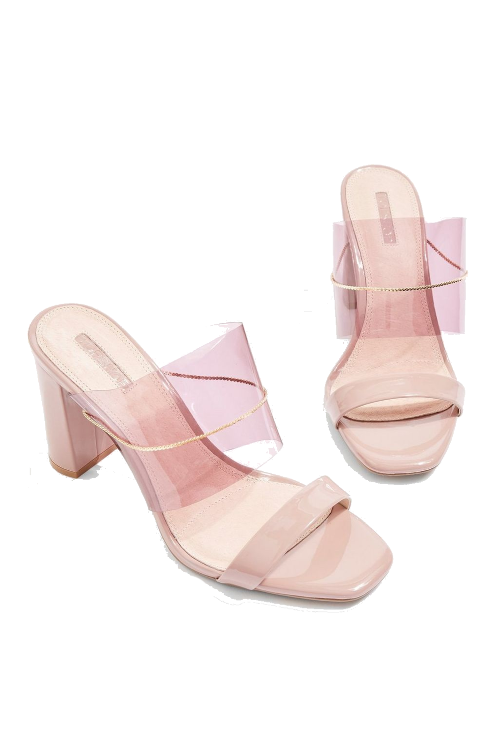 topshop blush pink clear mules