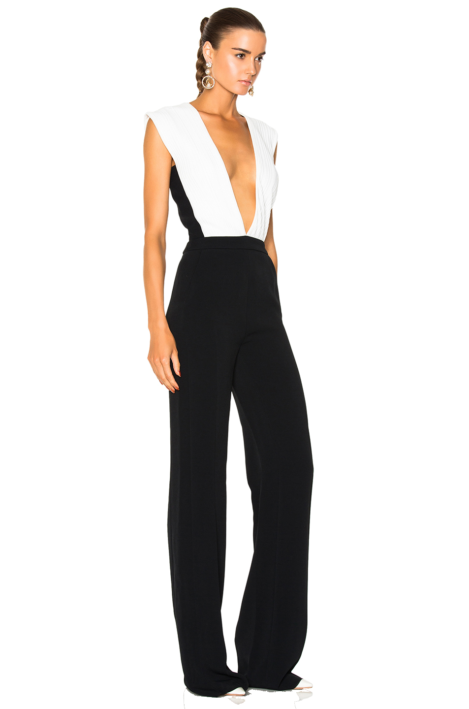 black + white plunge jumpsuit