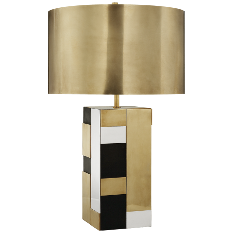 black + white + brass table lamp