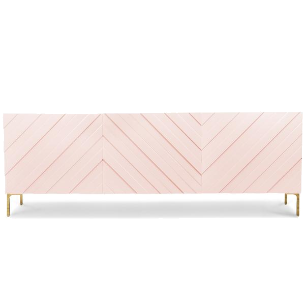blush pink chevron credenza