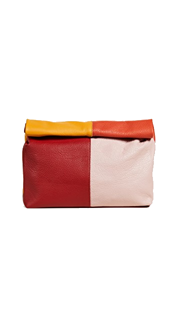 red + yellow + orange clutch