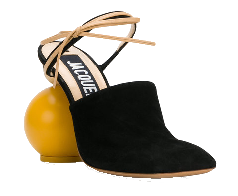 black + yellow + wood heel mules