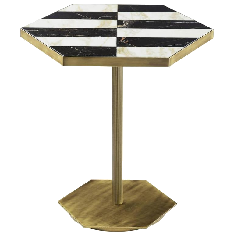 black, white + brass coffee table