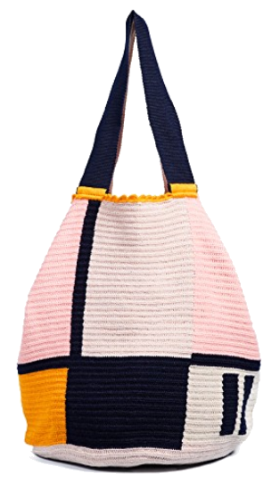 pink + black colorblock tote