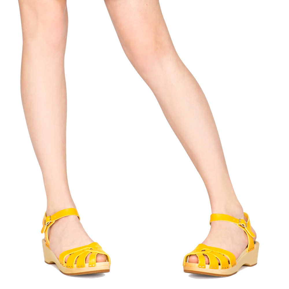 yellow hasbeen clog sandals