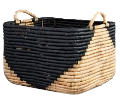 natural + black seagrass basket