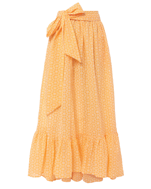 orange eyelet ruffle skirt