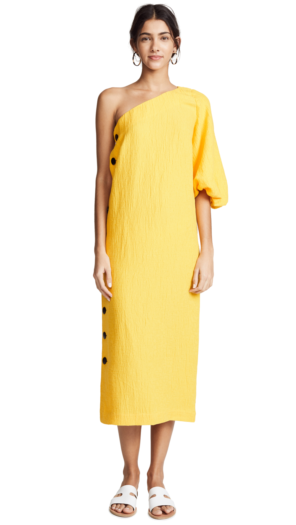 yellow one-shoulder midi dress