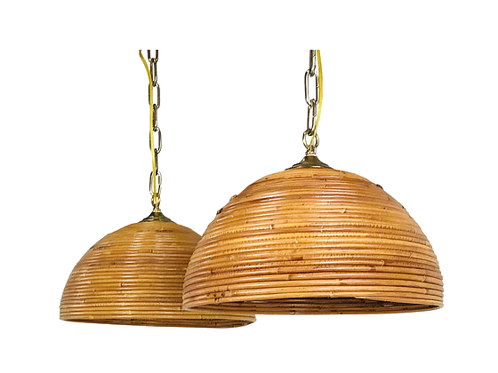 vintage rattan dome pendant lights