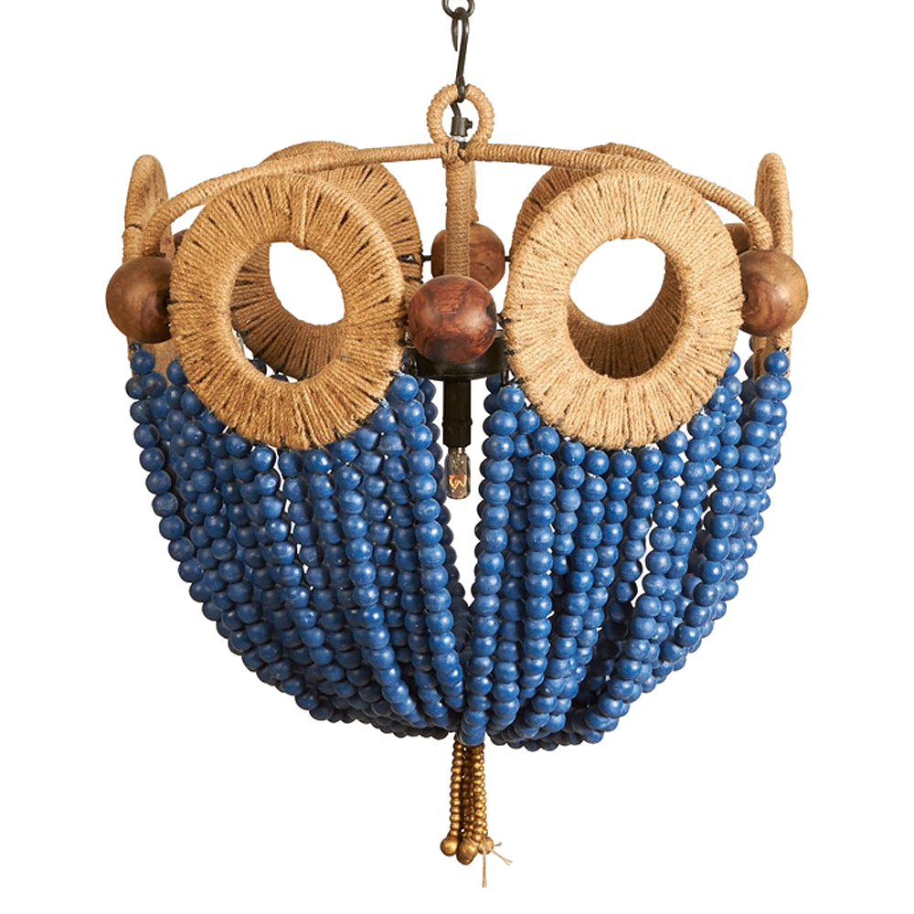 blue bead pendant chandelier