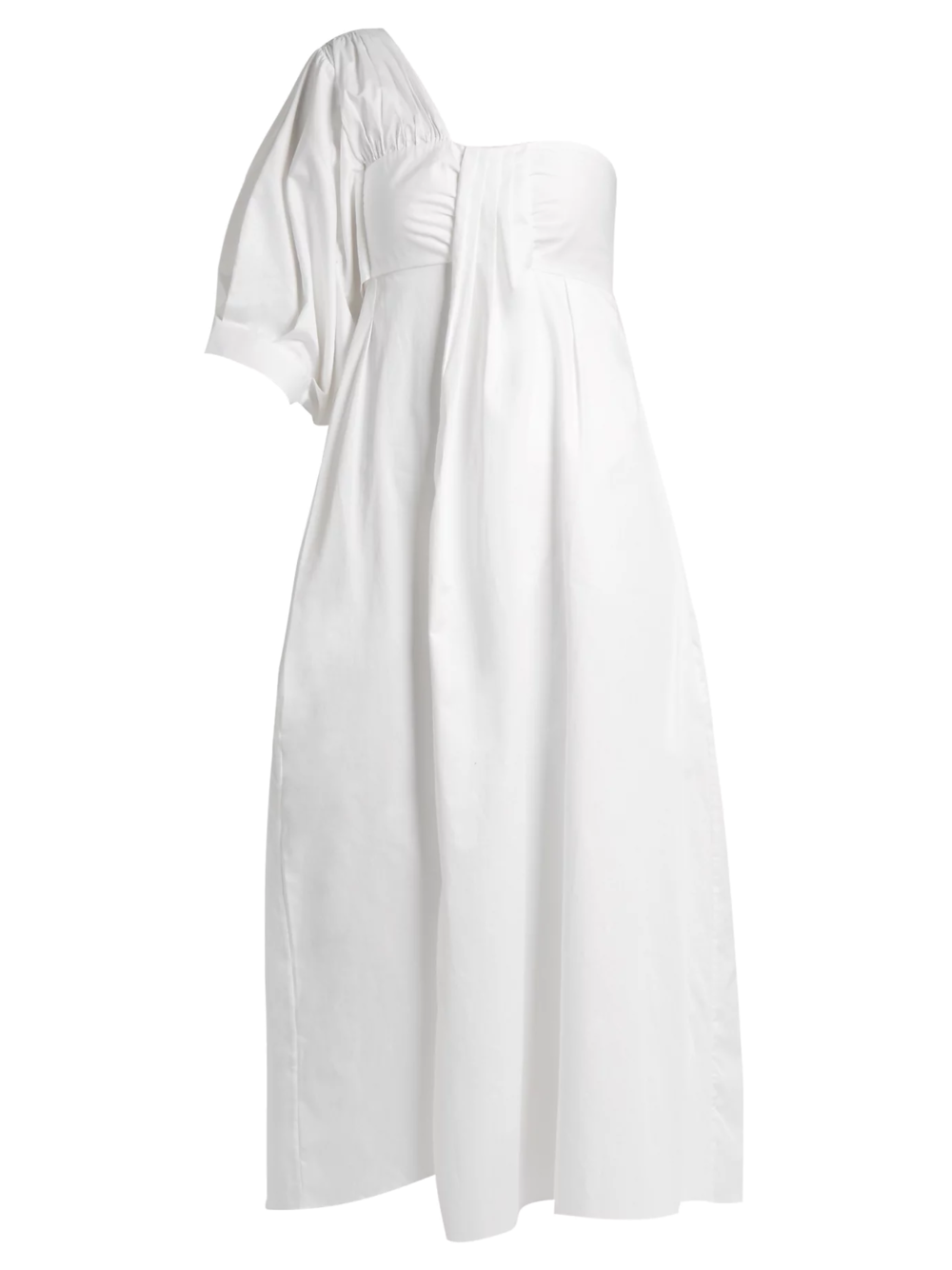 white one shoulder midi dress