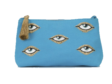 turquoise evil eye pouch