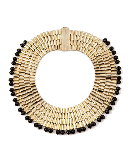 gold + black bead collar necklace