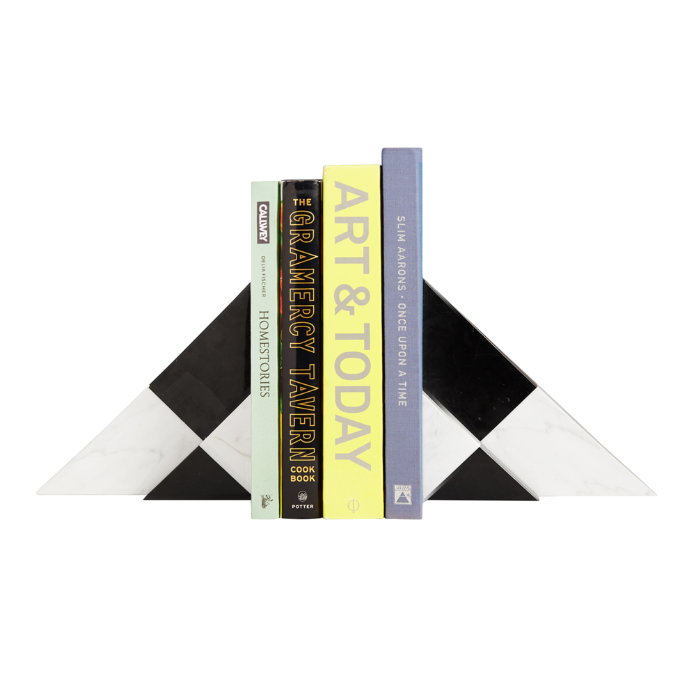 black + white pyramid bookends