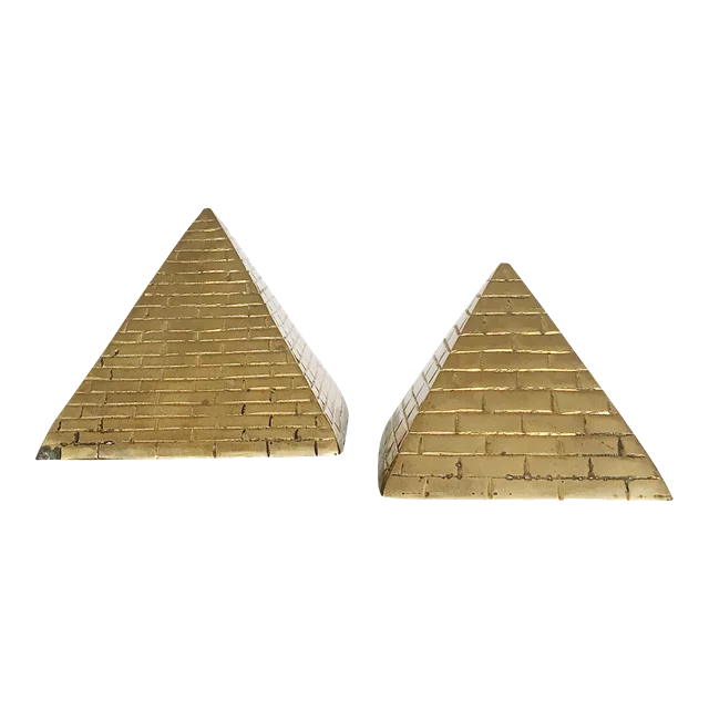 vintage brass pyramid bookends